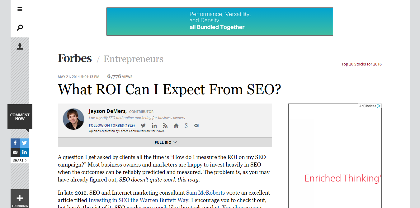 What ROI can i expect from seo article