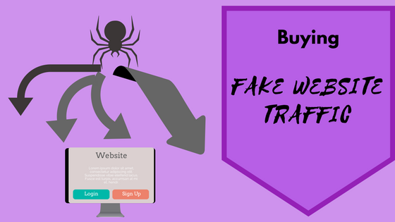 buying organic traffic article banner with a spider sending arrows to a computer