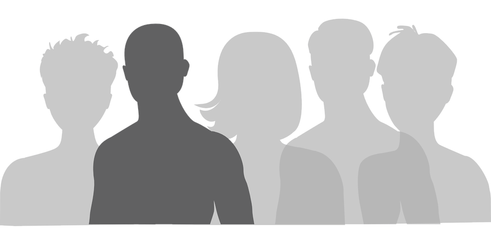 silhouette of 5 different people