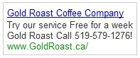 Gold Roast Google Adwords Ad