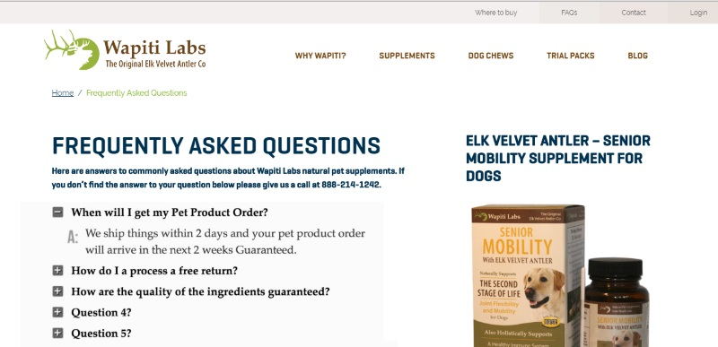pet product faq page