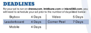 Tribune publishing companys digital marketing rate card